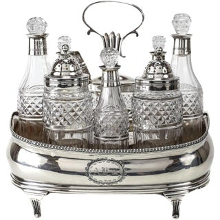 Thomas Hayter George III London Sterling Silver & Cut Glass Cruet Set, 1815
