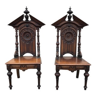 Antique Gothic Style Church Chairs - A Pair