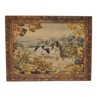 Framed Antique Sporting Dog Needlepoint Tapestry