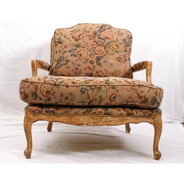 Large Floral Fauteuil Chair - Image 4 of 4
