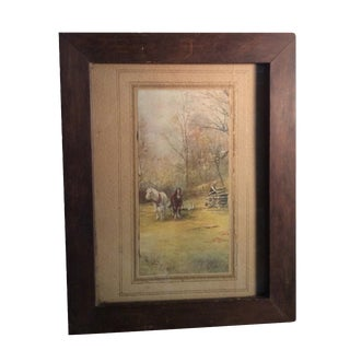 """Antique Early American Print """"Frontier Life"""""""
