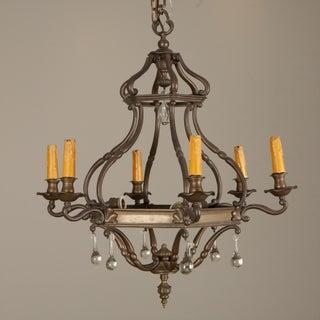 Dutch Bronze and Glass Six Arm Chandelier