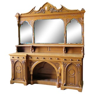 Monumental Gothic Oak Sideboard