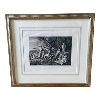 Antique French Steel Engraving 'A Bacchanalian Scene'