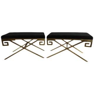 "Hollywood Regency Brass Greek Key ""X"" Benches - A Pair"