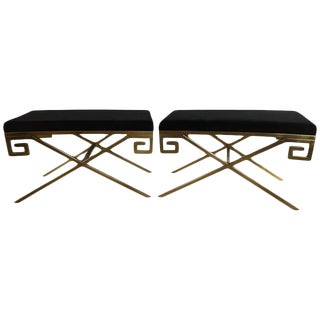 "Hollywood Regency Brass Greek Key ""X"" Benches - A Pair"