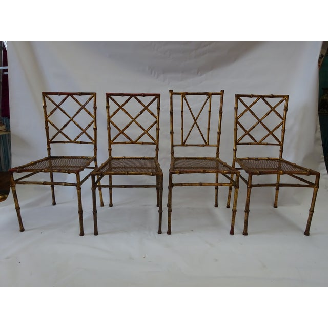 Italian Faux Bamboo Gold Dining Chairs - S/4 - Image 2 of 8