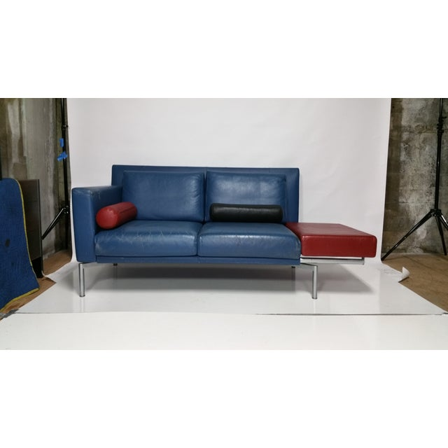 Vintage 1980s Italian Blue Leather Sofa - Image 3 of 10