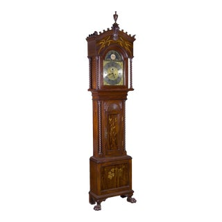 Art Nouveau Marquetry Galle Japanesque Inlay Tall Case Clock
