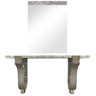 James Mont Silver Leaf Console & Mirror