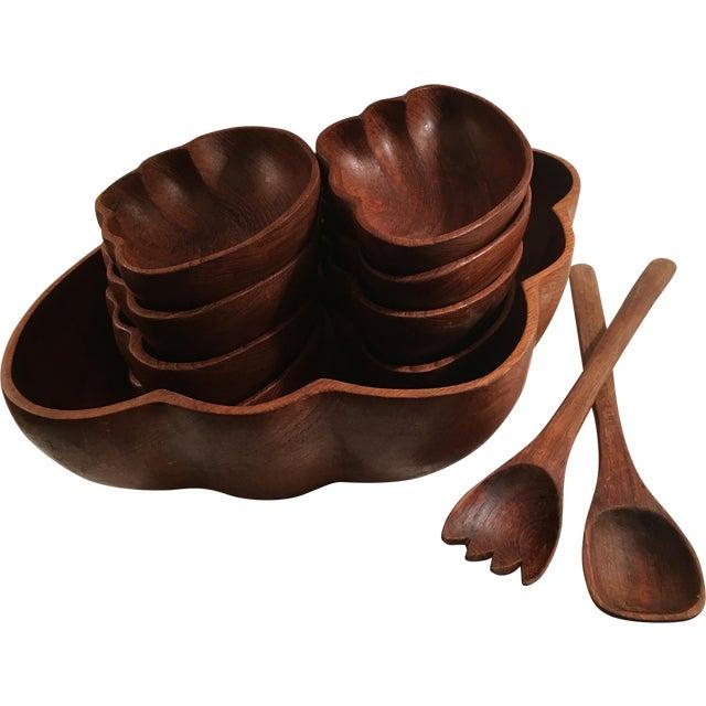 Vintage Teak Wood Salad Serving Set - Image 1 of 9