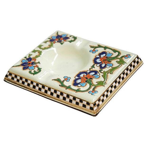 1950s French Enameled Porcelain Ashtray Catchall - Image 3 of 6