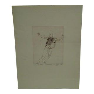 "Circa 1972 Vintage Ivan Valtchew ""The Dancer"" Engraving"