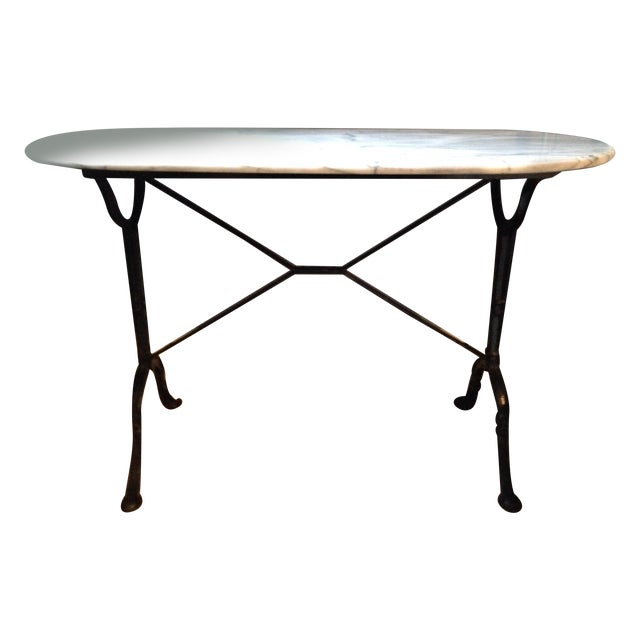 Antique French Marble & Iron Bistro Console Table - Image 1 of 5