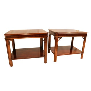 Lane Chippendale Style Mahogany Side Tables - a Pair