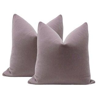 """Pair of 22"""" Mohair Velvet Pillows In Smokey Lavender"""