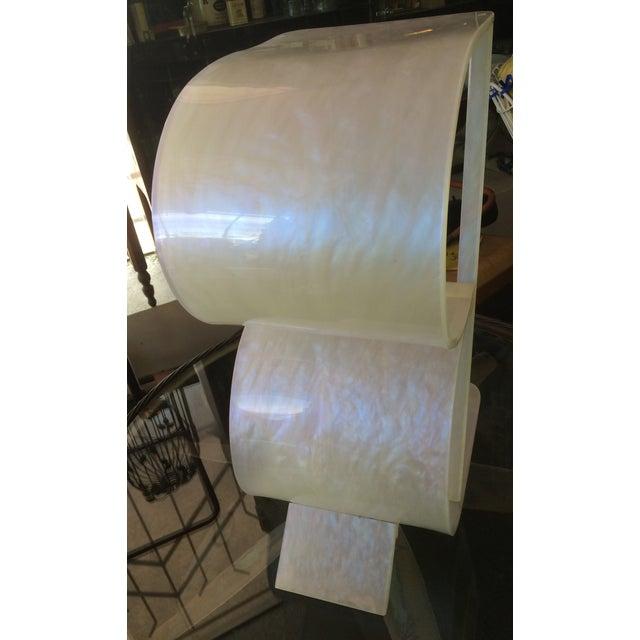 Art Deco Pearlized White Lucite 2 Tier Shelf - Image 5 of 8
