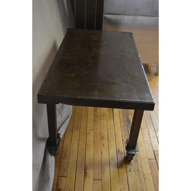 steel rolling coffee or end table chairish. Black Bedroom Furniture Sets. Home Design Ideas