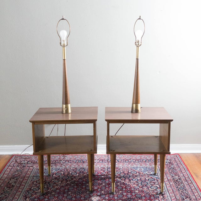 Vintage Mid-Century Modern Lamp Side Tables - A Pair - Image 5 of 5