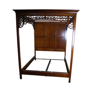 High Back Queen Size Poster Lattice Canopy Bed