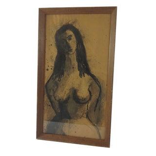 Vintage Nude Charcoal Sketch