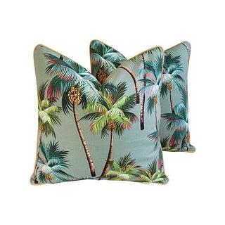 Custom Oasis Palm Tree Barkcloth Pillows- a Pair