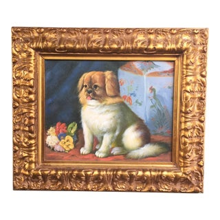 Seated Pekingese Dog & Ginger Jar Painting