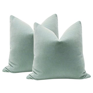 "Mohair Spa Blue Velvet Pillows - 22"" x 22"" - A Pair"