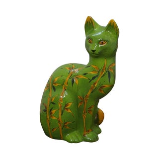 Colorful Italian Terra Cotta Pottery Cat Statue