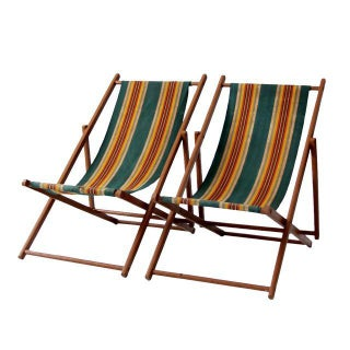 1940s Striped Deck Chairs - A Pair