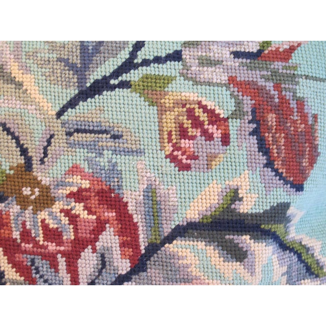 Vintage Floral Needlepoint Pillow - Image 3 of 4