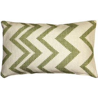 Pillow Decor - Lorenzo Zigzag Green 12x20 Pillow