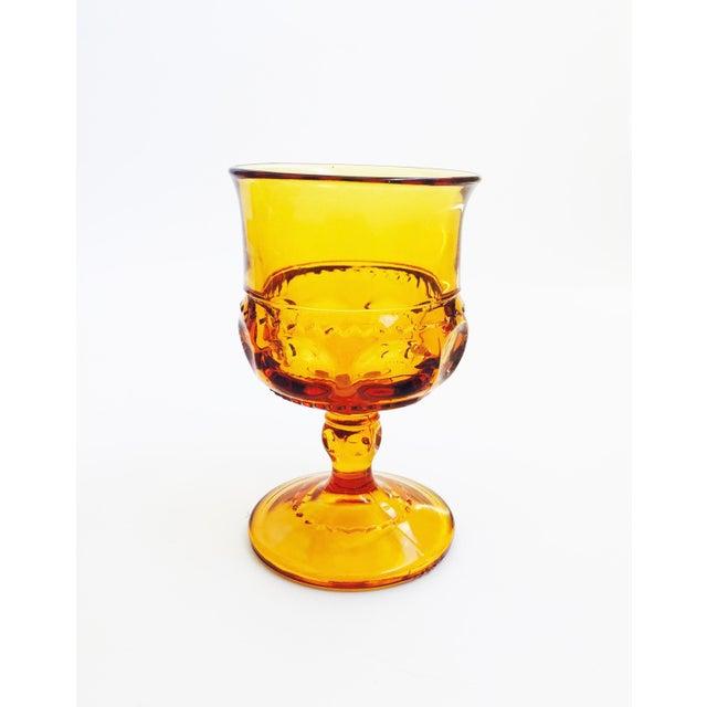 Vintage Amber Pressed Glass Goblets - Set of 8 - Image 4 of 5