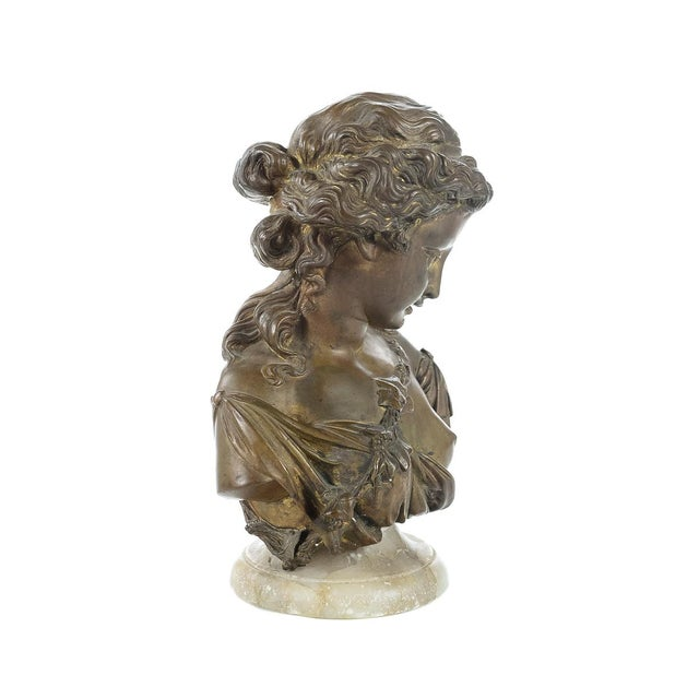 Image of French 19th Century Bronze Maiden Bust