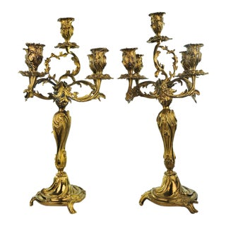 Antique Bronze Rococo Style Candelabras - A Pair