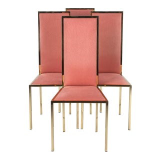 Set of Four Italian Mid-Century Brass Chairs, 1960s