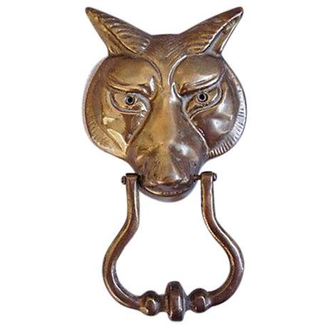 Large 1960s English Brass Fox Door Knocker - Image 1 of 6