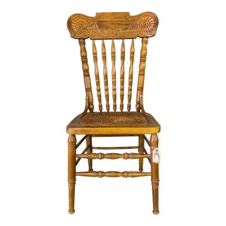 Vintage Wooden Caned Side Chair With Intricate Carvings