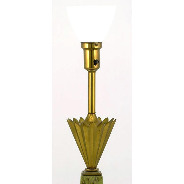 Pair of Stiffel Brass Crown and Sage Lacquer Obelisk Table Lamps - Image 2 of 4