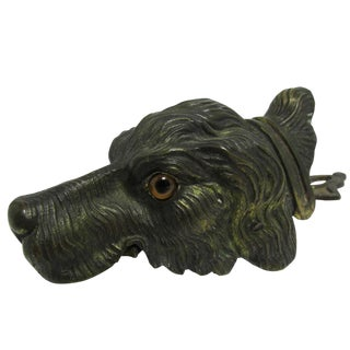 Turn of the Century Vienna Bronze Figural Dog Head Letter Clip