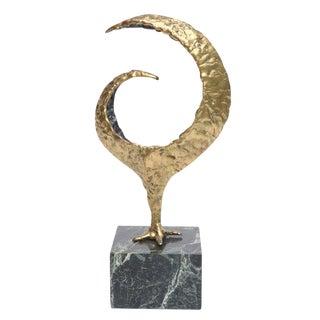 Molten Bronze and Variegated Marble Signed Brutalist Sculpture
