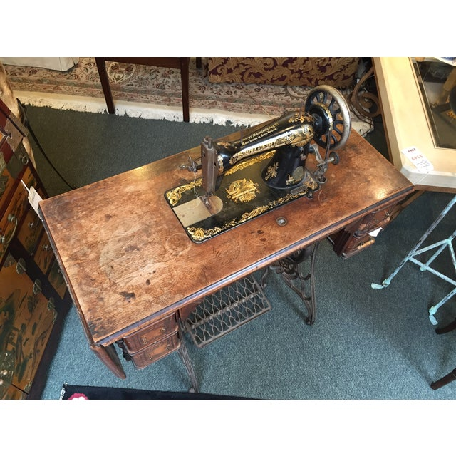 Image of Vintage Singer Sewing Machine Table