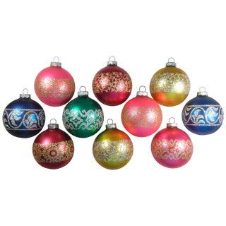Matte Glitter Ornaments - Set of 10