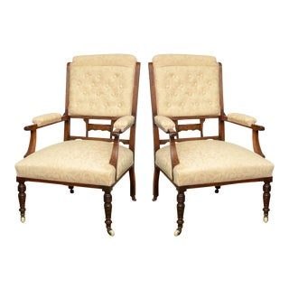 19th Century English Rosewood Armchairs - A Pair