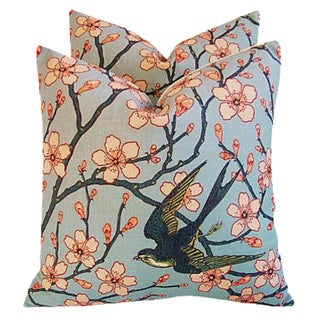 """20"""" Custom Magnolia Blossoms/Swallow Feather/Down Pillows - Pair"""