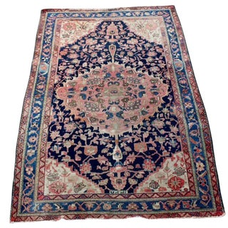 "Antique Persian Sarouk Rug - 4'4"" x 6'4"""