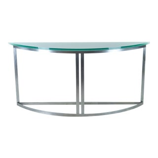 Modern Steel Demilune Console with Glass Top