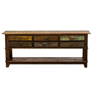 Vintage Antique Rustic Reclaimed Six Drawer Console Table Moving Sale 30% Off