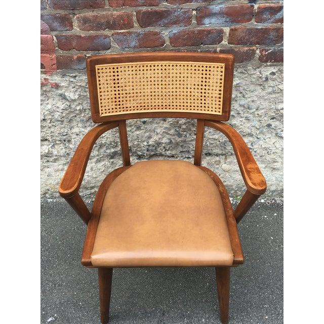 Mid-Century Changebak Cane & Wood Accent Chair - Image 4 of 7