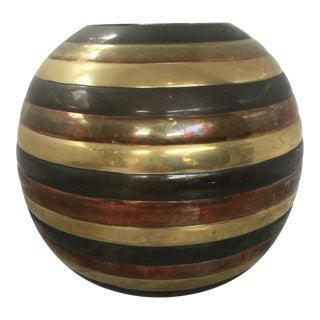 Vintage Brass Tri-Colored Vase